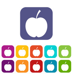 Checkered apple icons set flat vector