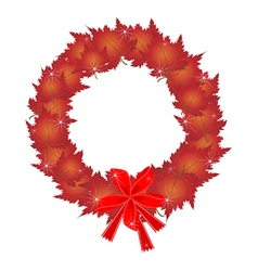 Christmas Wreath of Red Maple Leaves and Bows vector image