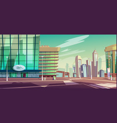 city street with crossroad and skyscrapers vector image