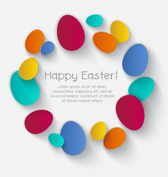 color eggs happy easter card poster vector image