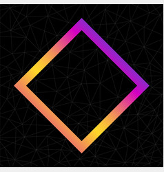 Colorful abstract rhomb logo isolated on black vector