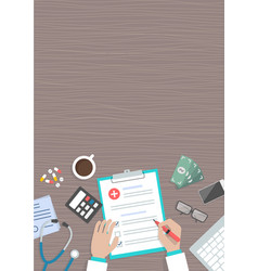 conceptual horizontal medical banner work place vector image
