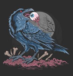 crow bird eat eyes artwork vector image