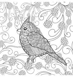 Cute bird in fantasy flower garden vector image