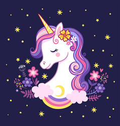 cute unicorn on a purple background with stars and vector image
