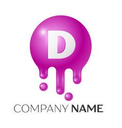 D letter splash logo purple dots and bubbles vector