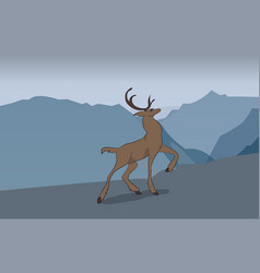 deer running in the mountains vector image