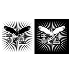 Eagle Chopper motorcycle and electric black white vector image