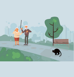Elderly people characters scared black cat vector