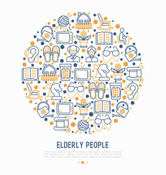 elderly people concept in circle vector image