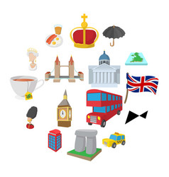 england icons set cartoon style vector image