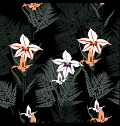 Exotic orchid flower seamless pattern vector