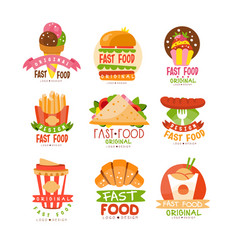 Fast food logos set burger cupcake pizza vector