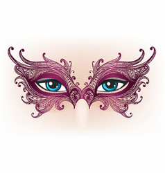 female eyes in lace mask vector image