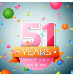 Fifty one years anniversary celebration background vector
