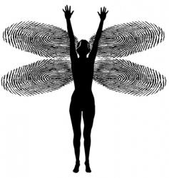 Fingerprint woman dragonfly vector