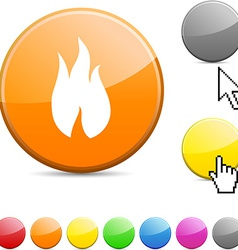 Fire glossy button vector image