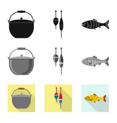 Fish and fishing sign set vector