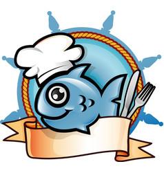 fish restaurant emblem vector image
