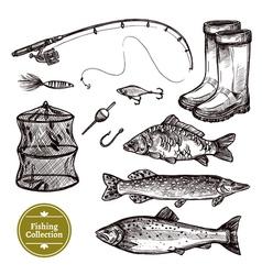 Fishing Sketch Set vector