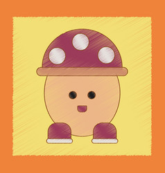 Flat shading style icon kids mushroom vector