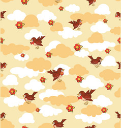 Flock sparrows among clouds vector