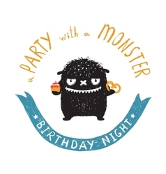 Funny Cute Little Black Monster Birthday Party vector