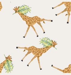 Giraffe with palm leaf in its mouth seamless vector
