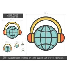 Global music service line icon vector