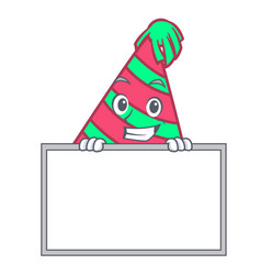 Grinning with board party hat character cartoon vector