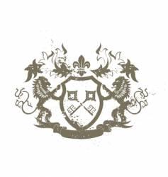 Grunge heraldic shield vector