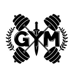 Gym sign with sword vector