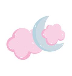 half moon clouds cartoon isolated icon design vector image