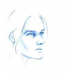 hand drawn pencil sketch with face of a vector image