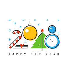 happy 2018 new year flat thin line horizontal vector image