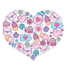heart with valentines day icons vector image
