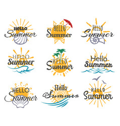 hello summer logo set vector image