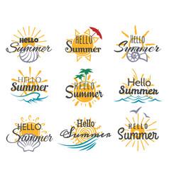 Hello summer logo set vector