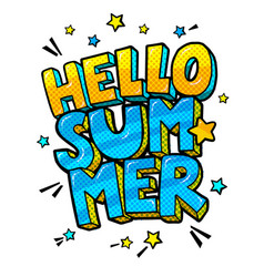 Hello summer message in pop art style vector