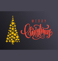 holiday card with christmas tree and lettering vector image