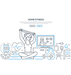 home fitness - modern line design style banner vector image