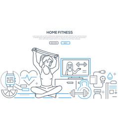 Home fitness - modern line design style banner vector