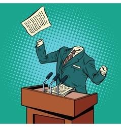 Invisible speaker speaks at podium vector