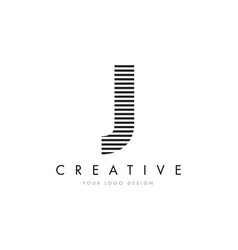 j zebra letter logo design with black and white vector image