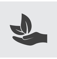Leaf on hand icon vector