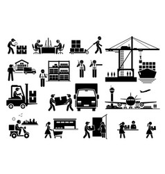 Logistic and shipping import and export vector