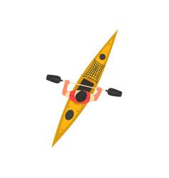 Man rafting in kayak kayaking water sport vector