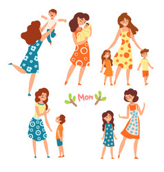 mothers and their kids set moms talking walking vector image