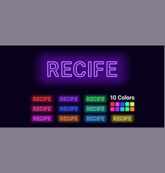Neon name of recife city vector