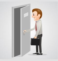 office man opening a door vector image